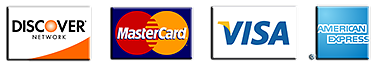 Credit cards accepted MasterCard, Visa, Discover and American Express